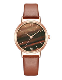Fashion Brown Thin Section Pu Belt Quartz Ladies Watch