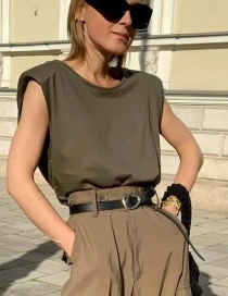 Fashion Armygreen Round Neck Sleeveless Shoulder Pad T-shirt