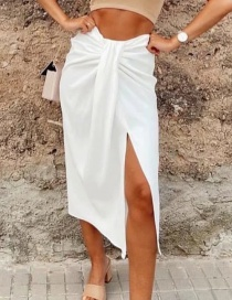 Fashion White Split Pleated Skirt