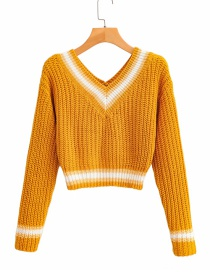 Fashion Ginger Contrasting Contrast Color Knit Sweater