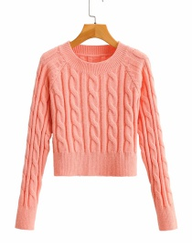 Fashion Orange Twist Round Neck Slim Sweater