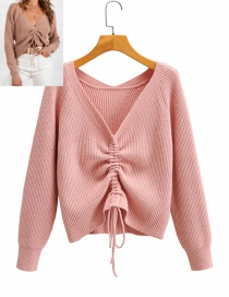 Fashion Pink Deep V-neck Drawstring Knitted Sweater