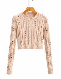 Fashion Light Orange Knitted Crew Neck Cutout Sweater