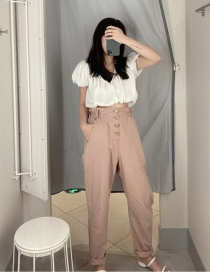 Fashion Pink Paper Bag Single-breasted Straight Trousers