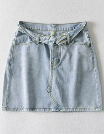 Fashion Blue Denim A-line Skirt With Turned Waist