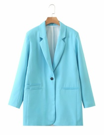 Fashion Lake Blue One Button Long Sleeve Solid Color Blazer