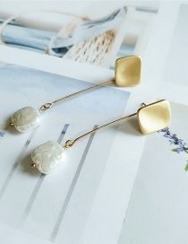 Fashion Yellow Long Pearl Alloy Bump Earrings