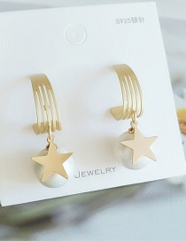 Fashion Yellow Pentagram Pearl Geometric Hollow Alloy Earrings