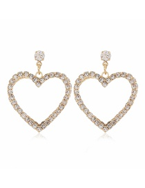 Fashion Yellow Alloy Double-layer Diamond Earrings