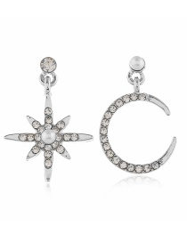 Fashion White Alloy Star Moon Moon Diamond Asymmetric Earrings