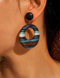 Fashion Color Mixing Fabric Hollow Round Alloy Earrings