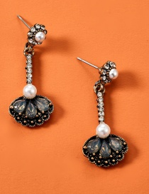 Fashion Black Alloy Acrylic Diamond Pearl Earrings