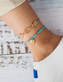 Fashion Blue Beaded Alloy Shell Scallop Anklet Set