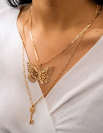 Fashion Golden Butterfly Key Hollow Alloy Multilayer Necklace