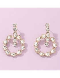 Fashion Golden Round Alloy Drop Earrings With Diamonds
