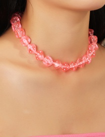 Fashion Pink Dice Acrylic Necklace