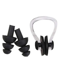 Fashion Black Silicone Swimming Waterproof Nose Clip Earplugs