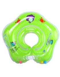 Fashion Green Baby Collar Inflatable Infant Swimming Neck Ring With Double Airbags