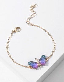 Fashion Blue Purple Acrylic Butterfly Wings Bracelet