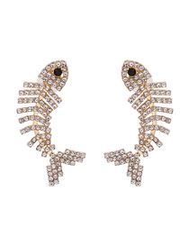 Fashion White Diamond Fishbone Claw Color Diamond Stud Earrings
