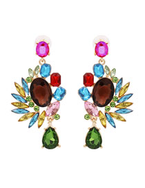 Fashion Dark Color Diamond Color Earrings