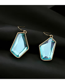 Fashion Light Blue Geometric Irregular Diamond Earrings