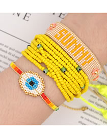 Fashion Yellow Suit Rice Bead Braided Multi-layer Tassel Beaded Bracelet