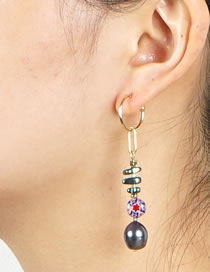 Fashion Gray Pearl Long Geometric Earrings