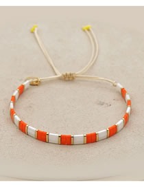 Fashion Orange Woven Rice Bead Bracelet