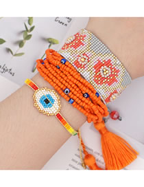 Fashion Set Multi-layer Rice Beads Braided Eye Tassel Bracelet
