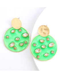 Fashion Green Round Resin Earrings With Diamonds And Pearls