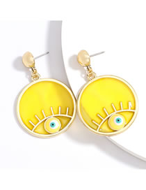 Fashion Yellow Round Alloy Resin Eye Earrings