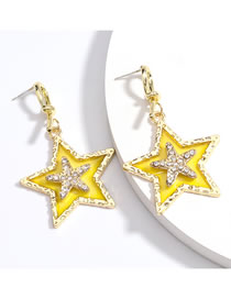 Fashion Yellow Playing With Gold Five-pointed Star Earrings
