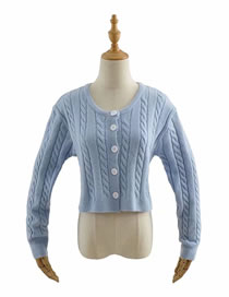 Fashion Blue Twist Single-breasted Cardigan Sweater