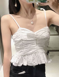 Fashion White Hollow Embroidery Strapless Backless Vest