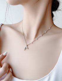 Fashion Necklace 925 Silver Pin Pearl Fishtail Necklace
