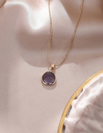 Fashion Rounded Purple Color Crystal Fan-shaped Necklace