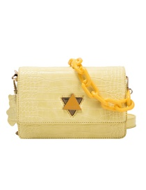 Fashion Yellow Chain Shoulder Bag With Stone Pattern Lock