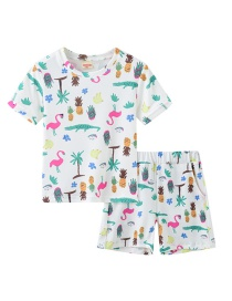 Fashion Cartoon Pineapple Elastic Cotton Short-sleeved Two-piece Suit
