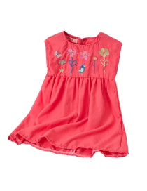 Fashion Red Children's Cartoon Flower Embroidery Sleeveless Dress