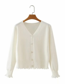 White Button V-neck Cardigan Sweater