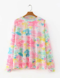 Fashion Pink Tie-dye Loose Long-sleeved Sweater