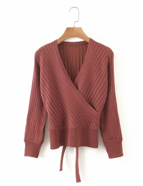 Fashion Brick Red Kimono V-neck Lace Up Long Sleeve Sweater
