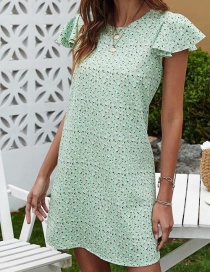 Fashion Light Green Ruffled Floral Dress