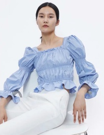 Fashion Blue Pleated Square Collar Puff Sleeve Shirt
