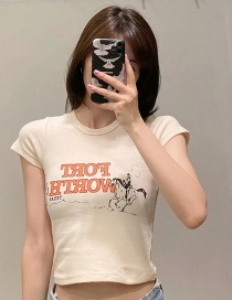 Fashion Beige Letter Printed T-shirt