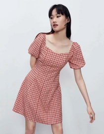 Fashion Red Checked Puff Sleeve Dress