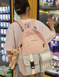 Fashion Pale Pinkish Gray Colorblock Transparent Check Backpack