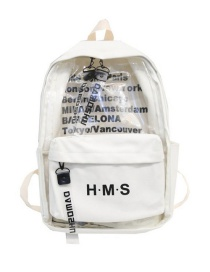 Fashion White Transparent Printed Letter Backpack