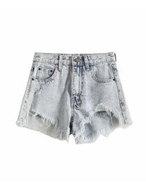 Fashion Blue Square Cross Denim Shorts